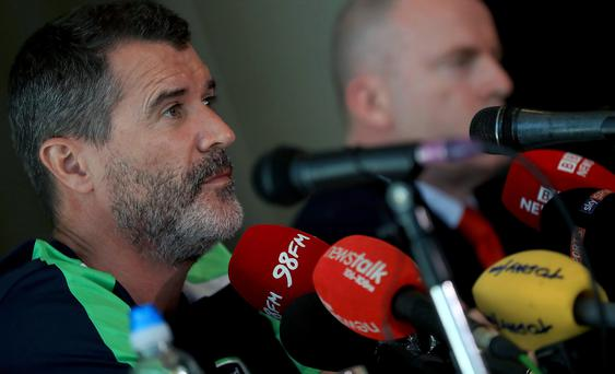Verbal volley: Republic of Ireland assistant boss Roy Keane lets rips at the players after a woeful performance against Belarus
