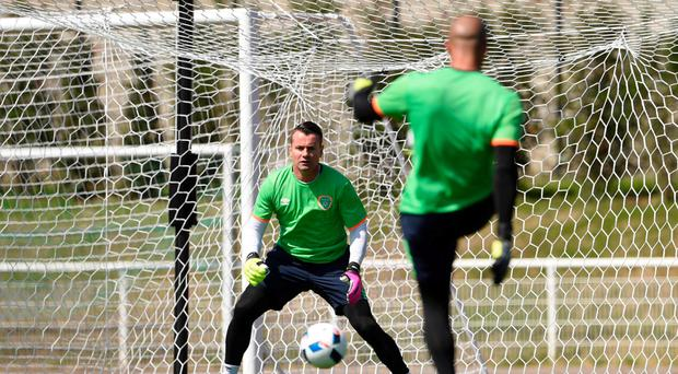 Shay Given is put through his paces by fellow Republic of Ireland goalkeeper Darren Randolph