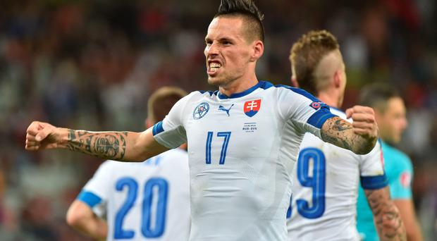 Marek Hamsik reacts after scoring Slovakia's second goal