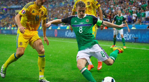Captain fantastic: Steven Davis led his team superbly as Northern Ireland defeated Ukraine on Thursday night