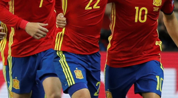 Nolito (centre) celebrates with teammates after grabbing a goal for Spain