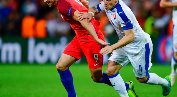 Drawing a blank: Harry Kane came on as substitute for England but failed to shirk off the Slovakia defenders