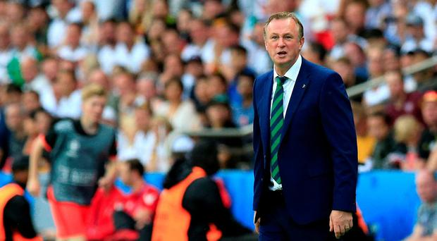 Northern Ireland manager Michael O'Neill on the touchline during the UEFA Euro 2016, Group C match at the Parc Des Princes, Paris. Jonathan Brady/PA Wire.