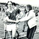 Turn back the clock: the late Noel Brotherston, the last Northern Ireland player to score a winner against Wales, celebrates the British Home Championship win over Scotland at Windsor Park in 1980