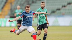 Up front: Shayne Lavery during brave defeat to Legia Warsaw