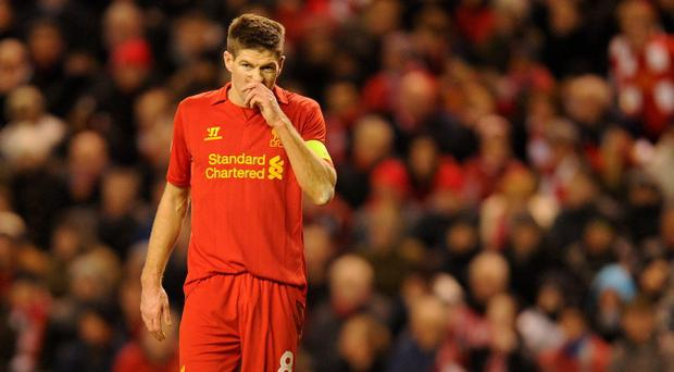 Liverpool's Steven Gerrard shows his dejection during the UEFA Europa League match at Anfield, Liverpool. PRESS ASSOCIATION Photo. Picture date: Thursday February 21, 2013. See PA story SOCCER Liverpool. Photo credit should read: Martin Rickett/PA Wire