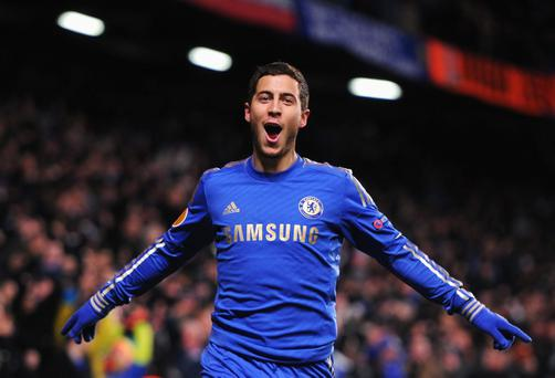 LONDON, ENGLAND - FEBRUARY 21: Eden Hazard of Chelsea celebrates his goal during the UEFA Europa League Round of 32 second leg match between Chelsea and Sparta Praha at Stamford Bridge on February 21, 2013 in London, England. (Photo by Michael Regan/Getty Images)