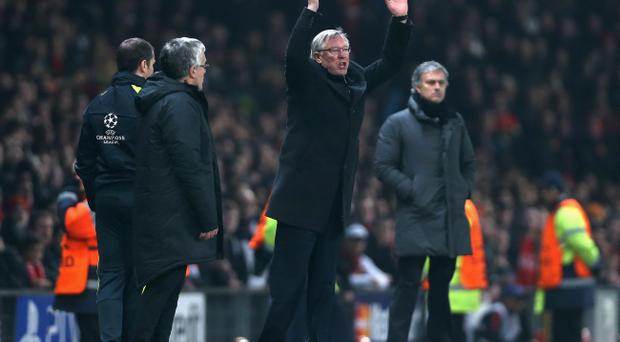 MANCHESTER, ENGLAND - MARCH 05: Manchester United Manager Sir Alex Ferguson reacts after Nani of Manchester United is sent off during the UEFA Champions League Round of 16 Second leg match between Manchester United and Real Madrid at Old Trafford on March 5, 2013 in Manchester, United Kingdom. (Photo by Jasper Juinen/Getty Images)