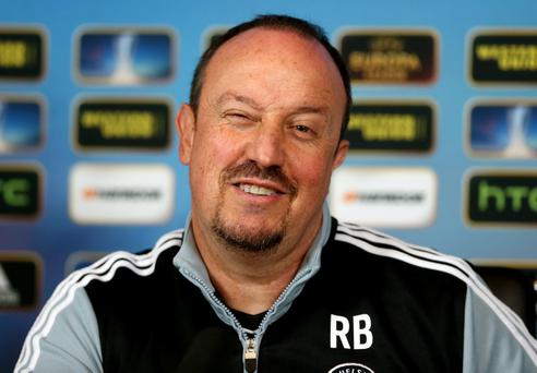 COBHAM, ENGLAND - MARCH 13: Chelsea manager Rafael Benitez during a Chelsea press conference ahead of their UEFA Europa League match with FC Steaua Bucuresti on March 13, 2013 in Cobham, England. (Photo by Scott Heavey/Getty Images)