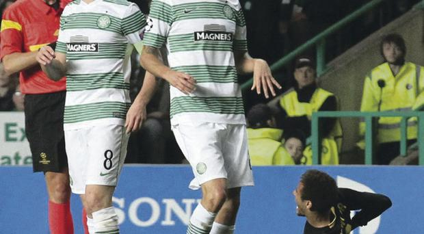 Seeing red: Celtic captain Scott Brown is giving his marching orders against Barcelona at the beginning of the month