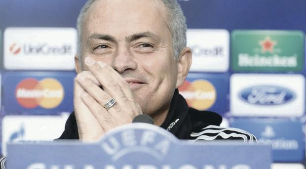 Chelsea's head coach Jose Mourinho, smiles during a press conference at the St. Jakob-Park stadium in Basel, Switzerland
