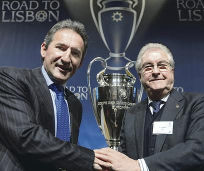 Man City football director Txiki Begiristain (left) and Barcelona vice-president Amador Bernabeu after yesterday's draw
