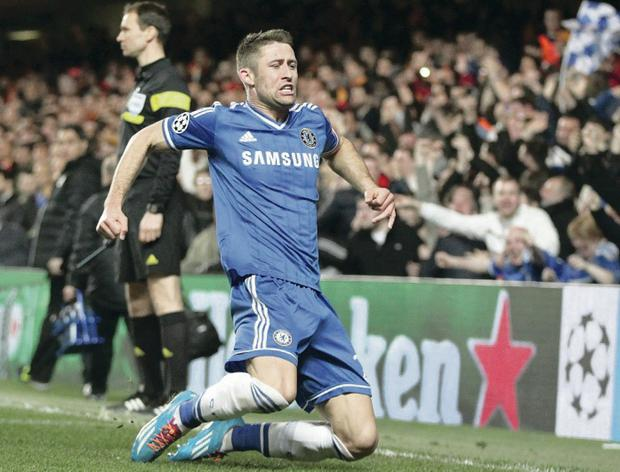 On the way: Gary Cahill celebrates scoring the second goal