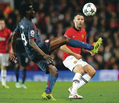 Ryan Giggs rolled back the years for Manchester United with a terrific display against Olympiakos last night