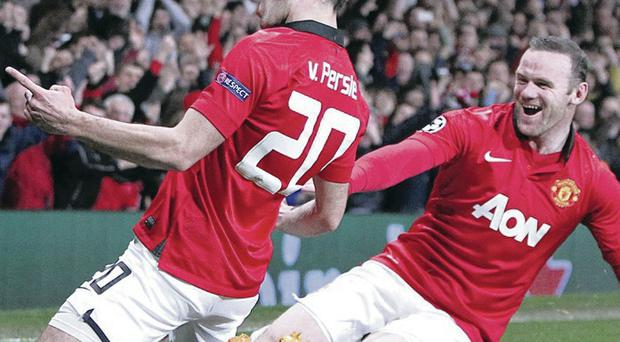 Who says they don't get on? Rooney and Van Persie celebrate