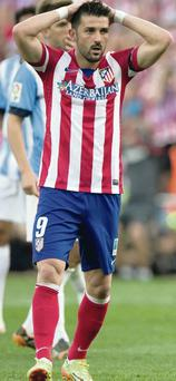 Blank day: David Villa fails to score for Atletico Madrid