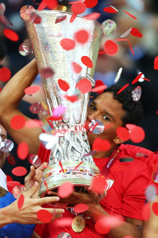 Sealed with a kiss: Carlos Bacca of Sevilla celebrates