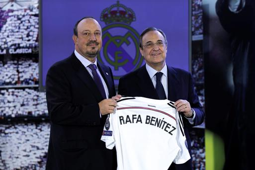 Under pressure: Rafael Benitez (left) with president Florentino Perez.