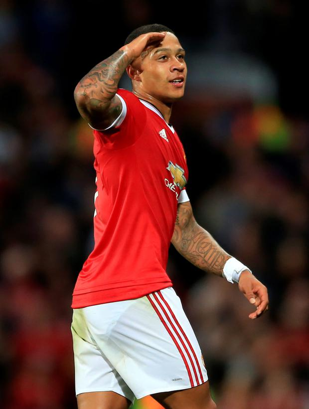 Memphis Depay netted twice at Old Trafford last night