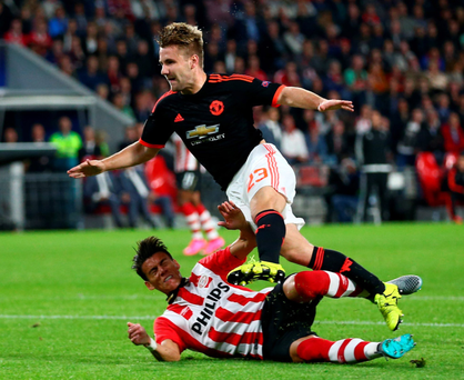 PSV's Hector Moreno's tackle on Manchester United's Luke Shaw