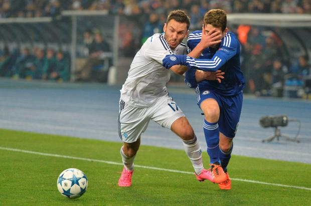 In your face: Dynamo Kiev's Serhiy Rybalka tries everything to stop Chelsea's Oscar