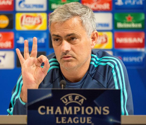 Centre of attention: Jose Mourinho addresses the media ahead of the Maccabi Tel Aviv clash