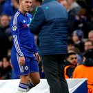 Early exit: Eden Hazard leaves the pitch after an injury