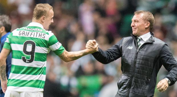 Celtic manager Brendan Rodgers and striker Leigh Griffiths