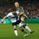 Battle: Dundalk's Ronan Finn and Legia Warsaw's Michal Pazdan