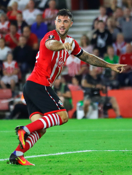 At the double: Southampton striker Charlie Austin netted twice last night