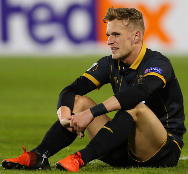 Down not out: Ulsterman Dean Shiels at final whistle last night