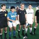 Gamechanger: Diego Maradona lines up for Napoli against Real Madrid in an empty stadium in 1987