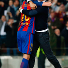 What a night: Luis Enrique and match-winner Sergi Roberto