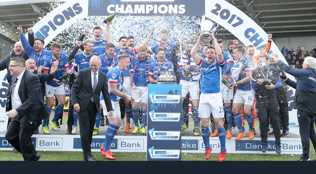 Just champion: Jamie Mulgrew lifts the Gibson Cup but it will count for nothing against La Fiorita on the European stage