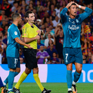 Red mist: Ronaldo was dismissed shortly after scoring