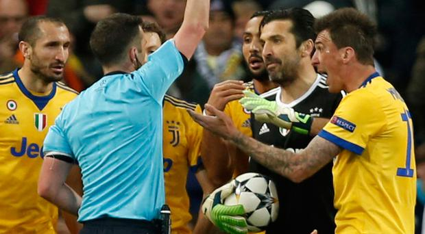 Red mist: Juventus goalkeeper Gianluigi Buffon is sent off