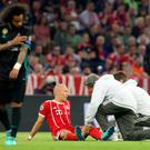 Early departure: Arjen Robben was forced off with injury