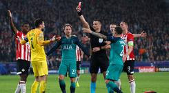 Off colour: Spurs goalkeeper Hugo Lloris is dismissed