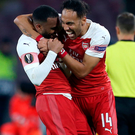 In control: Arsenal's Alexandre Lacazette enjoys his goal with Pierre-Emerick Aubameyang