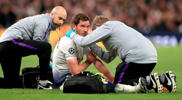 Medical concern: Jan Vertonghen underwent lengthy treatment for a head injury on Tuesday night