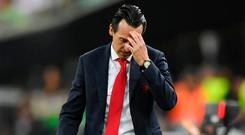 Tough gig: Unai Emery shows his frustration on the sidelines