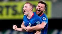 Roaring success: Shayne Lavery celebrates his second goal with Niall Quinn