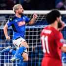 Spot on: Napoli's Dries Mertens celebrates after opening the scoring