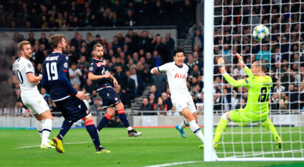 Cool finish: Son Heung-min finds the net