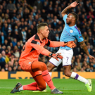 Nice touch: Raheem Sterling pokes home for Manchester City