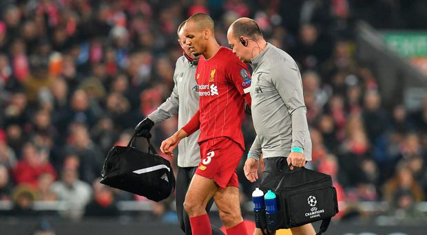 Fitness worry: Fabinho is taken off against Napoli
