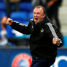 Cheer we go: Michael O'Neill celebrates Northern Ireland scoring against Ukraine at Euro 2016