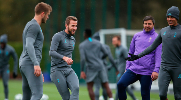 Good atmosphere: Harry Kane in jovial mood during Spurs training