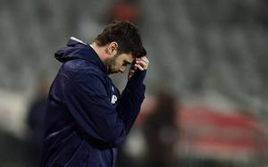 Oh now: Mauricio Pochettino reacts during Spur's defeat