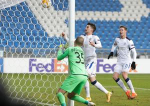 Net profit: Rangers ace Ianis Hagi bags the second in his side's victory over Lech Poznan in Poland